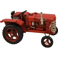 Traktor rdeč dekoracija kovina 16x9x9.5cm