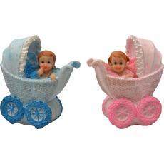 Dojenček v vozičku roza/moder 8x4x9,5cm sort