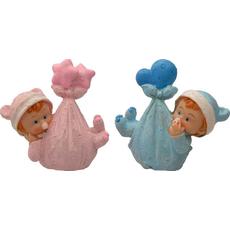 Figura dojenček v culi roza/modra 7,5x8x2,5cm sort