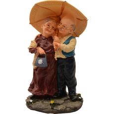 Dedek in babica stojita pod dežnikom 17,5x9,4x10cm