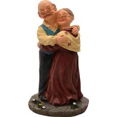Dedek in babica stojita v objemu 9x8x10cm