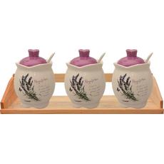 Posode sivka z žličko in pokrovom na podstavku keramika 8x10cm