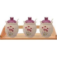 Posode z žličko in vijoličnim pokrovom na podstavku keramika 8x10cm