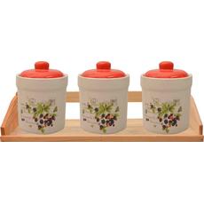 {[sl]:Posode za shranjevanje z rdečim pokrovom na podstavku keramika 10,5x10,5cm 3