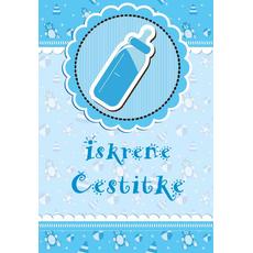 """Voščilnica ob rojstvu, steklenička, modra """"Iskrene čestitke"""""""