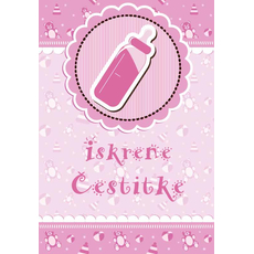 """Voščilnica ob rojstvu, steklenička, roza """"Iskrene čestitke"""""""