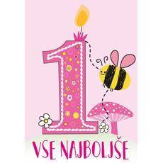 Voščilnica za 1. rojstni dan roza, Vse najboljše, čebelica