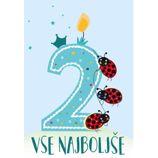 Voščilnica za 2. rojstni dan, modra, Vse najboljše, pikapolonice