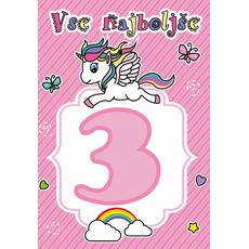 """Voščilnica za 3. rojstni dan, samorog, roza, """"Vse najboljše"""""""
