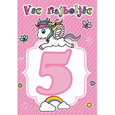 """Voščilnica za 5. rojstni dan, samorog, roza, """"Vse najboljše"""""""