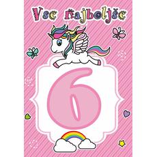 """Voščilnica za 6. rojstni dan, samorog, roza, """"Vse najboljše"""""""