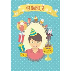 Voščilnica za rojstni dan, Vse najboljše, retro izgled, modra s pikicami