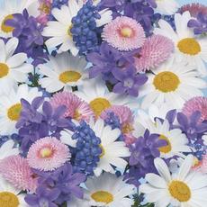 Papirnate serviete, roza in modri cvetovi, 33x33cm, 20kom