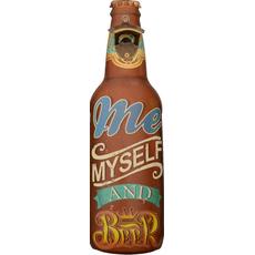 Odpirač kovinski stenski za steklenice Me, myself and Beer 45x13cm