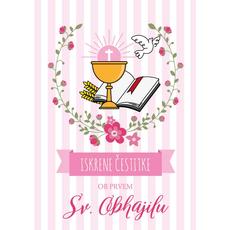 {[sl]:Voščilo, čestitka, Sveto Obhajilo, roza, Iskrene čestitke o