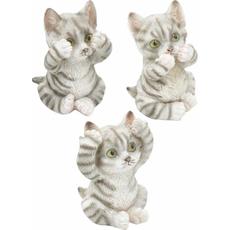 Figura muca siva tigrasta, 6.5x6x8.5cm sort