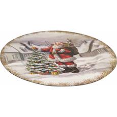 Krožnik dekorativni bel Božiček ob jelki PVC  33x33x1.9cm