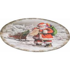 Krožnik dekorativni bel božiček z darili PVC  33x33x1.8cm