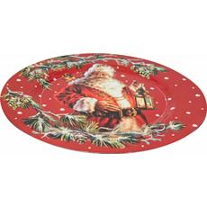 Krožnik dekorativni rdeč Božiček z laterno PVC  33x33x1.9cm