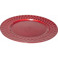 Krožnik dekorativni rdeč PVC  33x33x1.7cm