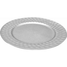 Krožnik dekorativni srebrn PVC  33x33x1.6cm