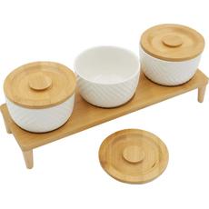 Set posodic za začimbe z lesenim pokrovom na stojalu 7/1 20cm