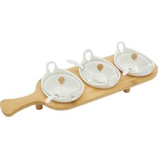 Set za omake s pokrovom in žlico na lesenem podstavku 10/1 13cm