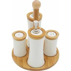 Set za sol poper olje in kis na lesenem podstavku 5/1 19cm