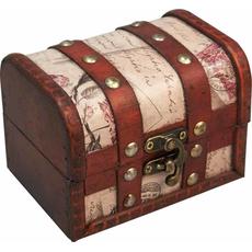 Skrinja lesena za shranjevanje rdeč usnjen trak s kovinskimi zakovicami , 11.5X8.5X8.5cm