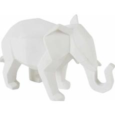 Slon kubizmo, bel, 17x8.5x11.5cm polimasa