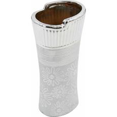 Vaza dekorativna srebrna 10,5x8,5x25cm