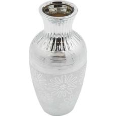 Vaza dekorativna srebrna 11,5x11,5x25cm
