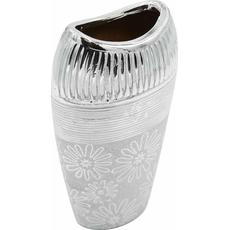 Vaza dekorativna srebrna 13,5x8,5x25cm