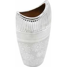 Vaza dekorativna srebrna 14x8x30,5cm