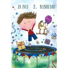 Voščilo, čestitka za rojstni dan, otroška, nastavljiva leta, fant s psom na trampolinu