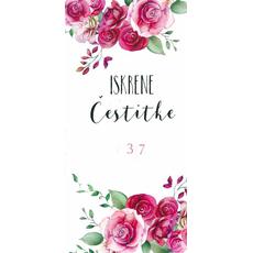 """Voščilo, čestitka za ženske, nastavljiva leta, """"Iskrene čestitke"""", roza vrtnice"""
