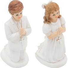 Figura dekorativna, punčka/fant pri obhajilu, klečeča, polimasa, 14x7cm