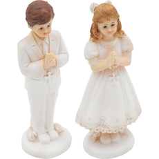 Figura dekorativna, punčka/fant pri obhajilu, stoječa, polimasa, 17.5x6cm