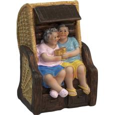 Hranilnik babica in dedek na klopi s kozarci 9x6,5x14cm