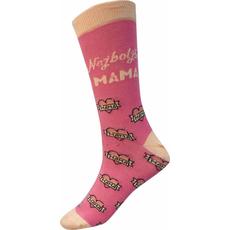 Nogavice šaljive, roza, najboljša mama, velikost 36-40