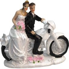 Poročni par na motorju, polymasa, 11,5x12cm, sort.