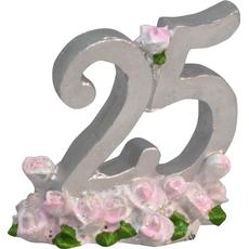 Številka 25 za srebrno poroko s cvetovi 6x4x6cm