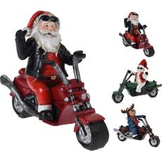 Božiček/snežak/jelenček na motorju, polimasa, 16cm