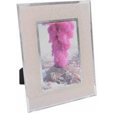 Okvir za sliko steklen, bež s srebrnimi bleščicami, za sliko 12x17cm, 20.5x1.2x25.5cm
