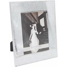 Okvir za sliko steklen, črte s srebrnimi bleščicami, za sliko 10x15cm,  15x1.2x23cm