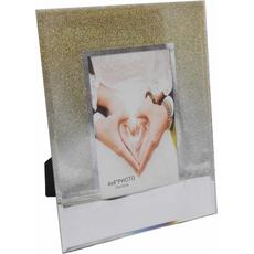 Okvir za sliko steklen, z zlatimi bleščicami, za sliko 10x15cm, 18x1.2x23cm
