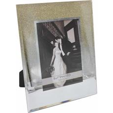 Okvir za sliko steklen,  z zlatimi bleščicami, za sliko 12x17cm,  20.5x1.2x25.5cm