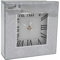 Ura namizna steklena, črte s srebrnimi bleščicami, 15x15x4.5cm