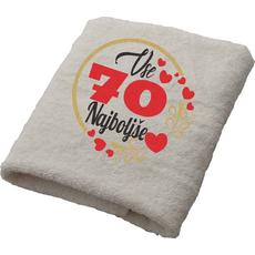 Brisača Vse najboljše 70 srčki 100x5Ocm 100% bombaž