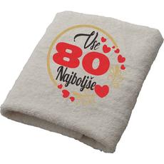 Brisača Vse najboljše 80 srčki 100x5Ocm 100% bombaž